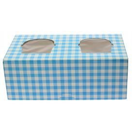 Paper Cupcake Box 2 Slots Blue 19,5x10x7,5cm (160 Units)