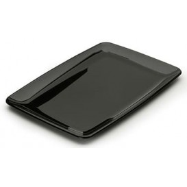 Plastic Tray Rectangular Shape Hard Black 20x28 cm (100 Uds)