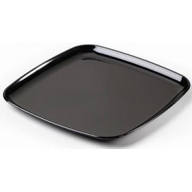 Plastic Tray Square Shape Hard Black 30x30cm (5 Units)