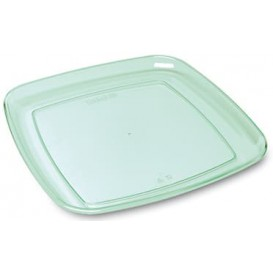 Plastic Tray Square Shape Hard Clear 35x35cm (5 Units)