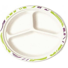 Wood Pulp Chinet Paper Plate Flavour 3 Comp. 26 cm (540 Units)