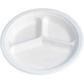 Paper Plate Wood Pulp Chinet White 3 Comp. 26 cm (135 Units)