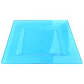 Plastic Plate Square shape Extra Rigid Turquoise 20x20cm (4 Units)