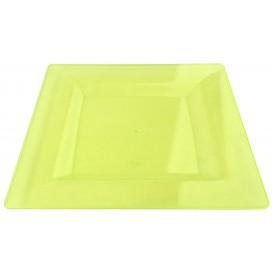 Plastic Plate Square shape Extra Rigid Green 20x20cm (4 Units)
