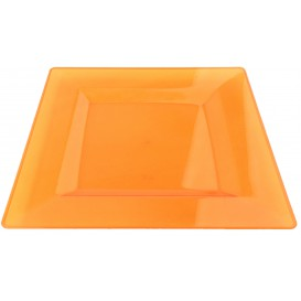 Plastic Plate Square shape Extra Rigid Orange 20x20cm (4 Units)