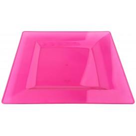 Plastic Plate Square shape Extra Rigid Raspberry 20x20cm (88 Units)