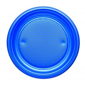 Plastic Plate PS Flat Dark Blue Ø17 cm (50 Units)