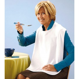 Disposable Adult Bib with Pocket White 36x65cm (125 Units)