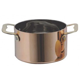 Serving Mini Cooking Pot Bowl Steel Copper Ø7x4,5cm (6 Units)