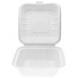 Sugarcane Burger Box White 15x15x7,5cm (500 Units)