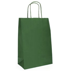 Paper Bag with Handles Kraft Green 80g 20+10x29cm (50 Units)