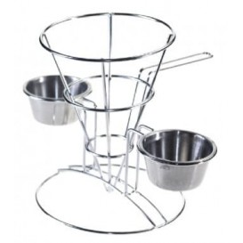 Display Basket Containers Steel 2 Cups Ø10,8x15,2cm (12 Units)