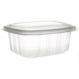 Plastic Hinged Deli Container Microwavable PP High Dome Lid 370ml (50 Units)