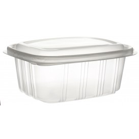 Plastic Hinged Deli Container Microwavable PP High Dome Lid 500ml (50 Units)