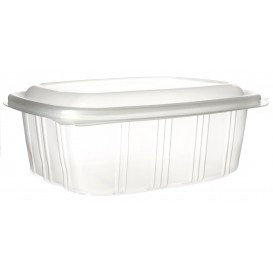 Plastic Hinged Deli Container Microwavable PP High Dome Lid 1000ml (50 Units)