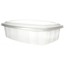 Plastic Hinged Deli Container Microwavable PP High Dome Lid 1500ml (200 Units)
