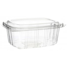 Plastic Hinged Deli Container OPS High Dome Lid 500ml (50 Units)