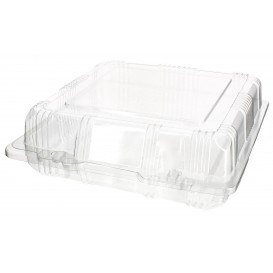 Plastic Hinged Bakery Container PET 18x18x6cm (220 Units)