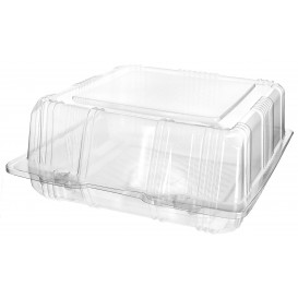 Plastic Hinged Bakery Container PET 18x18x8cm (220 Units)