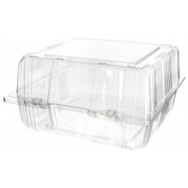Plastic Hinged Bakery Container PET 18x18x10cm (20 Units)