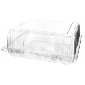 Plastic Hinged Bakery Container PET 20x20x8cm (20 Units)
