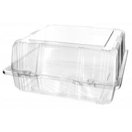 Plastic Hinged Bakery Container PET 20x20x10cm (220 Units)