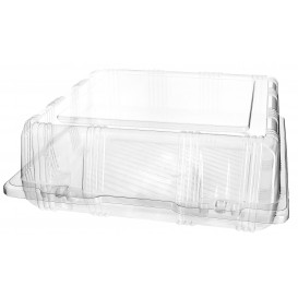 Plastic Hinged Bakery Container PET 22x22x8cm (20 Units)