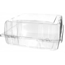 Plastic Hinged Bakery Container PET 22x22x10cm (220 Units)