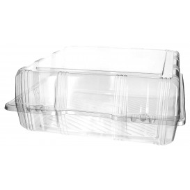 Plastic Hinged Bakery Container PET 25x25x10cm (220 Units)