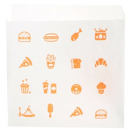 "Paper Food Bag Opened L Shape ""Saky Food"" 15x15cm (250 Units)"