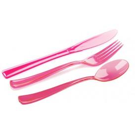 Plastic Cutlery Kit Fork, Knife, Spoon Raspberry (20 Kits)