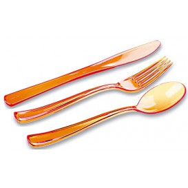 Plastic Cutlery Kit Fork, Knife, Spoon Orange (20 Kits)