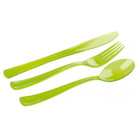 Plastic Cutlery Kit Fork, Knife, Spoon Green (1 Unit)