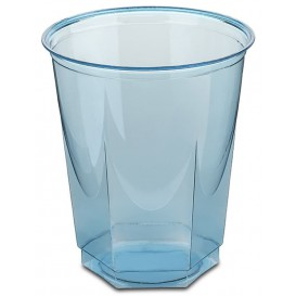 Plastic Cup PS Crystal Hexagonal shape Turquoise 250ml (250 Units)