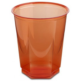 Plastic Cup PS Crystal Hexagonal shape Red 250ml (10 Units)