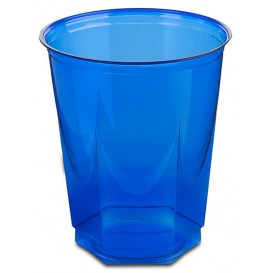 Plastic Cup PS Crystal Hexagonal shape Blue 250ml (10 Units)