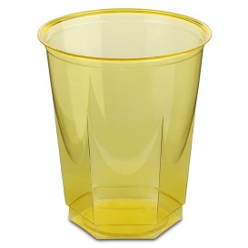 Plastic Cup PS Crystal Hexagonal shape Yellow 250ml (250 Units)