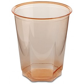 Plastic Cup PS Crystal Hexagonal shape Orange 250ml (10 Units)