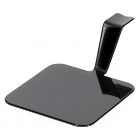 "Tasting Plastic Plate PS ""Gourmand"" Black 4x4cm (50 Units)"