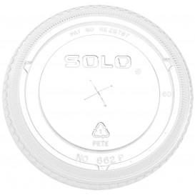 Plastic Lid with Straw Slot PET Crystal Flat Ø9,2cm (100 Units)