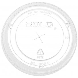 Plastic Lid with Straw Slot PET Crystal Flat Ø10,7cm (50 Units)