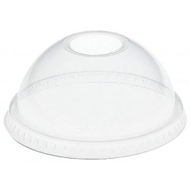 Plastic Dome Lid with Hole PET Crystal Ø8,3cm (100 Units)