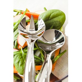 Plastic Spoon and Fork PS Salad Silver (5 Units)