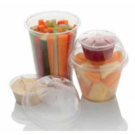 "Plastic Lid with Portion Cup PET Crystal ""Press&Dress"" Ø9,2cm (50 Units)"