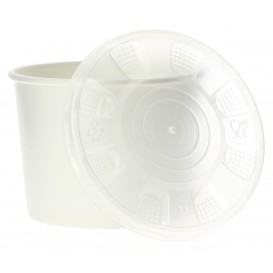 Paper Container with Plastic Lid White PP 350ml (250 Units)