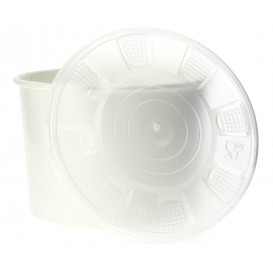 Paper Container with Plastic Lid White PP 488ml (250 Units)