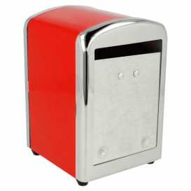"Napkin Steel Dispenser ""Miniservis"" Red 10,5x9,7x14cm (1 Unit)"
