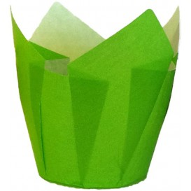 Cupcake Liner Tulip shape Green Ø5x5/8cm (125 Units)