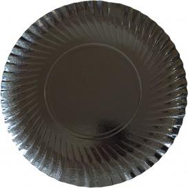Paper Plate Round Shape Black 25cm (500 Units)