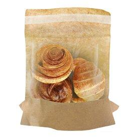 Paper Food Bag Kraft and window Autoseal 14x16cm (100 Units)